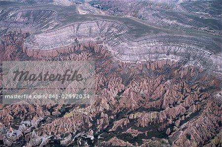 Looking down from hot air balloon, near Goreme, Cappadocia, Anatolia, Turkey, Asia Minor, Asia