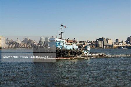 Work boat on Hudson River, Manhattan, New York City, New York, United States of America, North America
