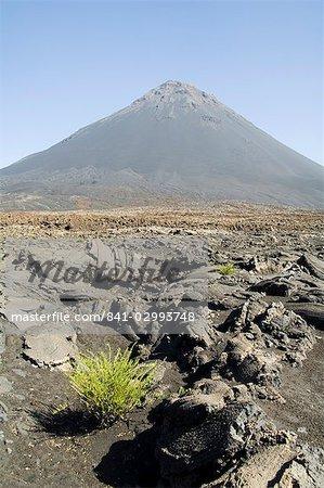 View from the caldera of the volcano of Pico de Fogo, Fogo (Fire), Cape Verde Islands, Africa