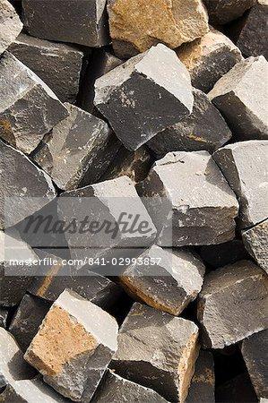 Cobblestones used to build all the roads, Mindelo, Sao Vicente, Cape Verde Islands, Africa