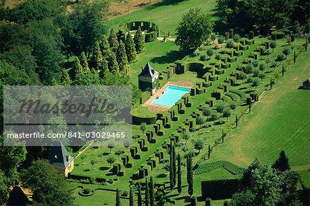aerial view of les jardins deyrignac dordogne perigord aquitaine france - Jardin D Eyrignac