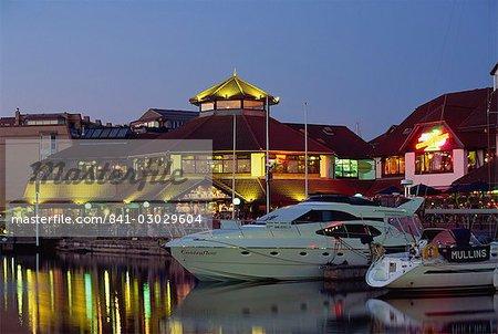 Boats and restaurants at dusk, Marina, Port Solent, Hampshire, England, United Kingdom, Europe