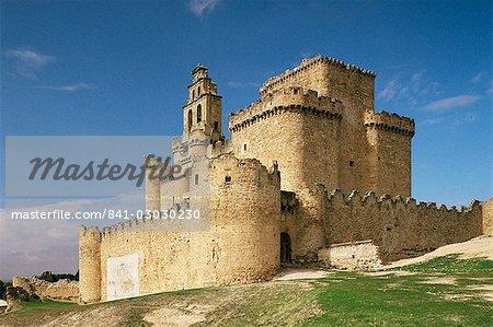 View of castle, Turegano, Segovia province, Castile Leon, Spain, Europe