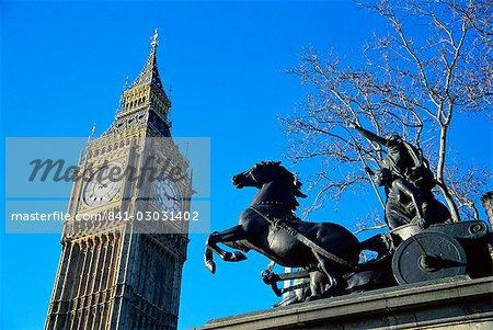 Boadicea (Boudicca) and Big Ben, London, England, United Kingdom, Europe
