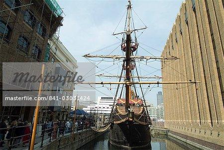 Replica of the Golden Hinde, Francis Drake's ship, Southwark, London, England, United Kingdom, Europe