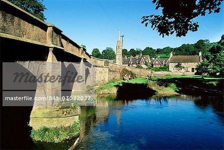 Bridge over River Manifold, Ilam, Peak District National Park, Derbyshire, England, United Kingdom, Europe