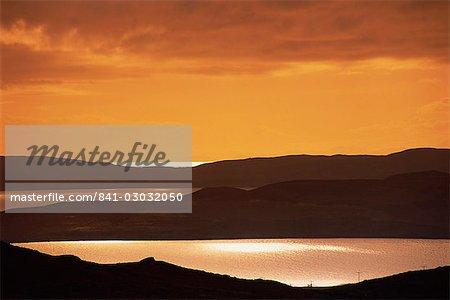 Tranquil scene of sunset over Gruinard Bay, Wester Ross, Highlands, Scotland, United Kingdom, Europe
