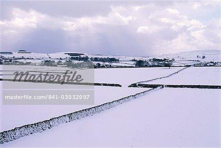 Snow covered fields and walls, Hartington, Tissington Trail, Derbyshire, England, United Kingdom, Europe