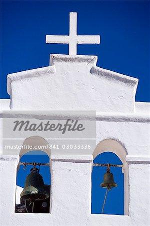 Detail of bell tower of church, Yaiza, Lanzarote, Canary Islands, Spain, Mediterranean, Europe
