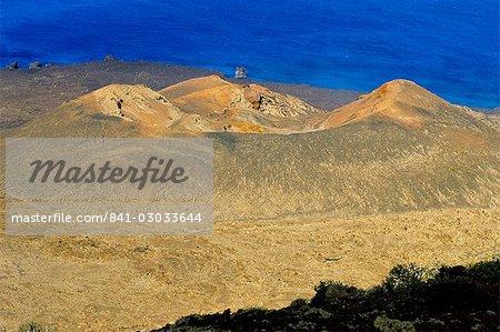 View of volcano cone taken from la Dehesa, with sea beyond, El Hierro, Canary Islands, Spain, Atlantic, Europe