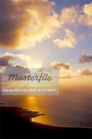 Coastline under dramatic sky, near El Mirador del Rio, Lanzarote, Canary Islands, Spain, Atlantic, Europe