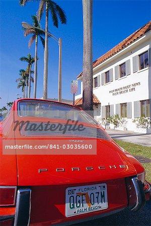 Red Porsche car,Palm Beach,California,United States of America