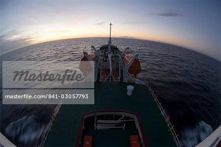 Antarctic Dream ship in Drake Passage at sunset, Antarctica, Polar Regions