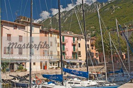 The little harbour at Pai, Lake Garda, Veneto, Italy, Europe