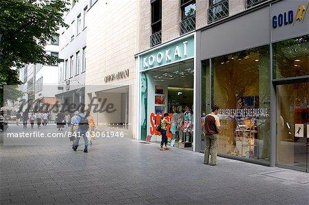 Fashion shops on Konigsallee street, Dusseldorf, North Rhine Westphalia, Germany, Europe