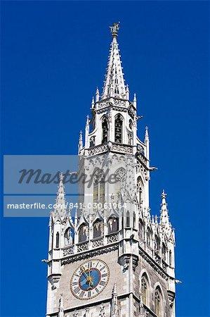 City Hall Tower at Marienplatz, Munich, Bavaria, Germany, Europe