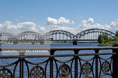 Railway bridge over the river Daugava, Riga, Latvia, Baltic States, Europe
