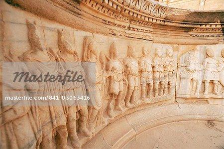 High reliefs, The Theatre, Sabrata (Sabratha), UNESCO World Heritage Site, Tripolitania, Libya, North Africa, Africa