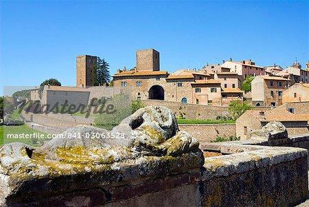 Etrsuscan sarcophagus and view of Tuscania, Tuscania, Viterbo, Lazio, Italy, Europe