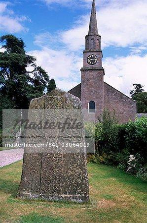Christian Pictish cross, Glamis churchyard, Angus, Scotland, United Kingdom, Europe