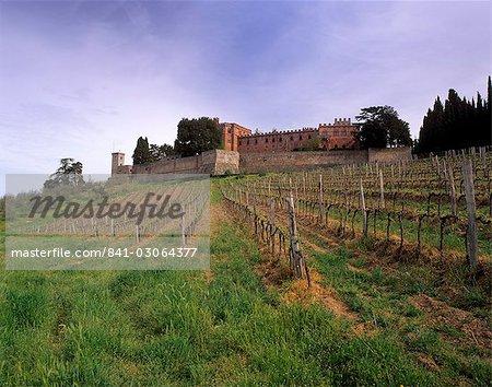 Castello di Brolio and famous vineyards, Brolio, Chianti, Tuscany, Italy, Europe