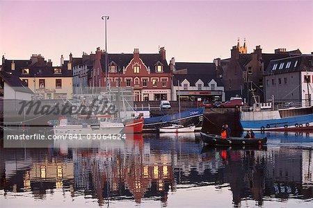 Stornoway (Steornabhagh) harbour at dusk, Isle of Lewis, Outer Hebrides, Scotland, United Kingdom, Europe