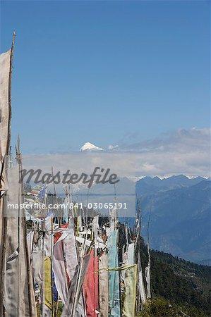 View from Cheli La Pass of Bhutan's most sacred mountain, Mount Jhomolhari, 7314m, Himalayas, Bhutan, Asia