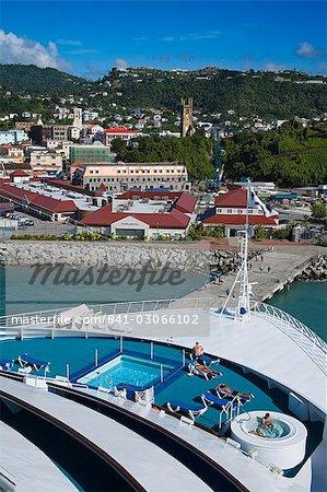 Docked cruise ship, Esplanade area, St. George's, Grenada, Windward Islands, Lesser Antilles, West Indies, Caribbean, Central America