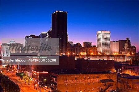 Oklahoma City skyline viewed from Bricktown District, Oklahoma, United States of America, North America