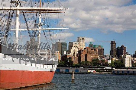 Historic Sailing Ship, South Street Seaport Museum, Lower Manhattan, New York City, New York, United States of America, North America