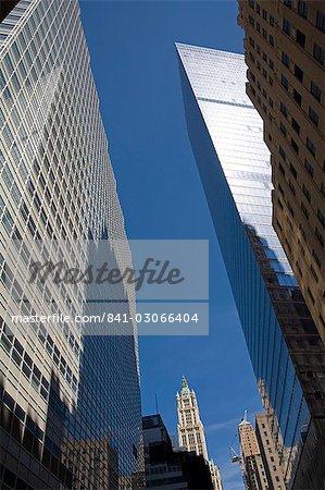 Skyscrapers on Barclay Street, Lower Manhattan, New York City, New York, United States of America, North America