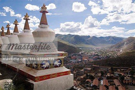 View of Yushu town from temple, Yushu, Qinghai, China, Asia