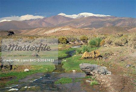 Stream in the Atacama Desert with the Andes on the horizon, San Pedro de Atacama region, Chile, South America