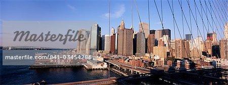 Manhattan skyline from Brooklyn Bridge, New York City, New York, USA, North America