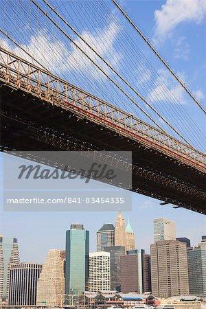 Brooklyn Bridge, and Lower Manhattan skyline, New York City, New York, United States of America, North America