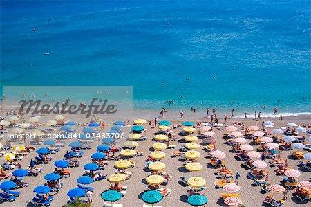 Aerial view of umbrellas and sea, Elli Beach, Rhodes Town, Rhodes, Dodecanese, Greek Islands, Greece, Europe