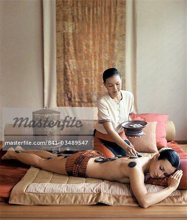 Tibetan stone massage at Chi Spa at Shangri-la Bangkok, Bangkok, Thailand, Southeast Asia, Asia