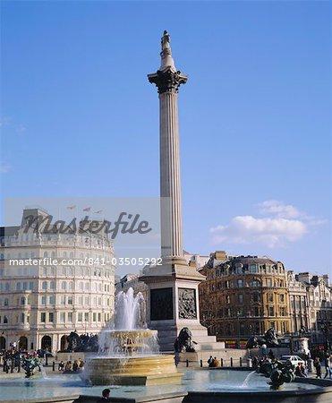 Nelson's Column and fountains, Trafalgar Square, London, England, UK