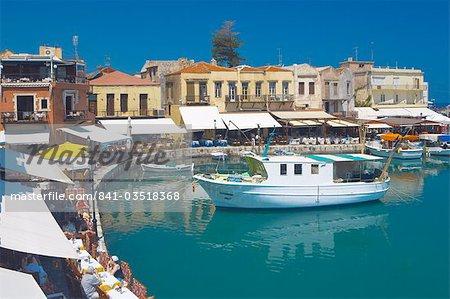 Old port and restaurants, Rethymnon, Crete, Greek Islands, Greece, Europe