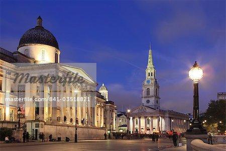 National Gallery at dusk, Trafalgar Square, London, England, United Kingdom, Europe