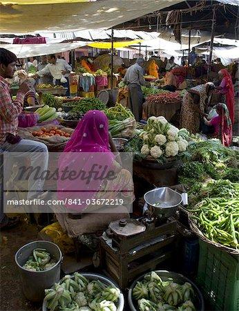 A food market in Pushkar, Rajasthan, India, Asia