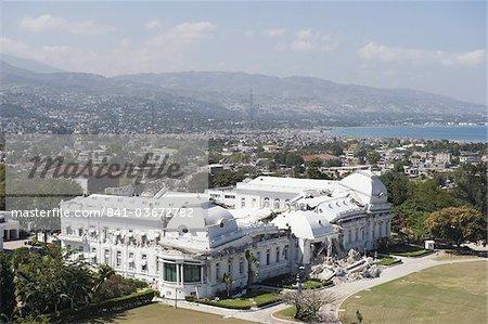 National Palace, showing January 2010 earthquake damage, Port au Prince, Haiti, West Indies, Caribbean, Central America