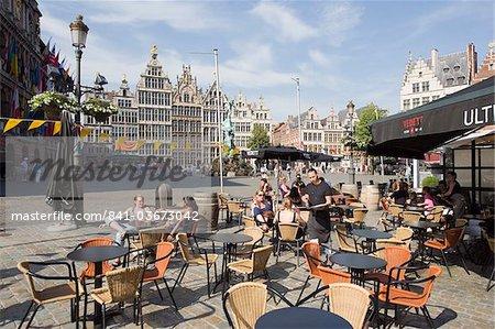 Outdoor cafe, Grote Markt, Antwerp, Flanders, Belgium, Europe
