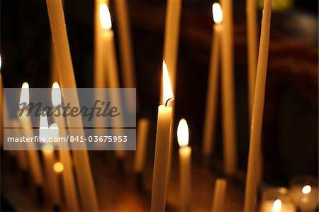 Church candles, Paris, France, Europe