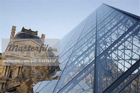 Pyramid designed by Leoh Ming Pei, Louvre Museum, Paris, France, Europe