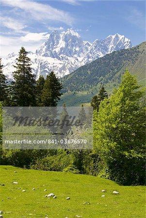 Wonderful mountain scenery of Svanetia with Mount Ushba in the background, Georgia, Caucasus, Central Asia, Asia