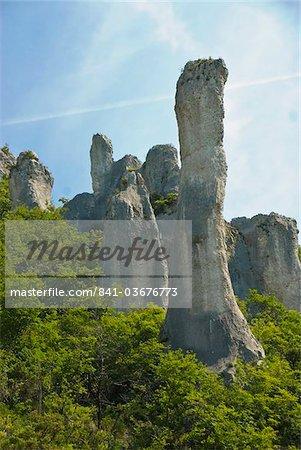 Huge stone towers in the Ucka Canyon, Istria, Croatia, Europe