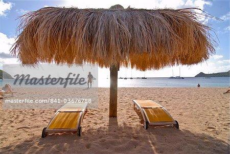 Sun umbrella on Reduit Beach, Rodney Bay, St.. Lucia, Windward Islands, West Indies, Caribbean, Central America