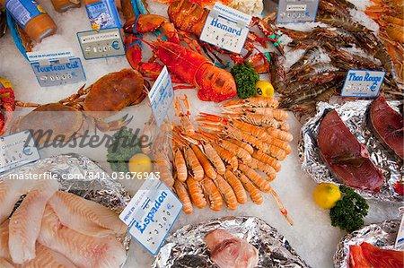 Seafood for sale at street market, rue Mouffetard, Paris