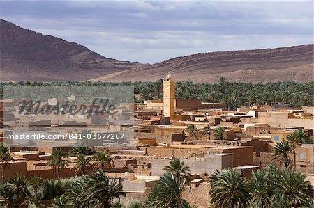 Panorama of Figuig, province of Figuig, Oriental Region, Morocco, Norht Africa, Africa